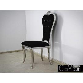 Stylowe krzesło do pokoju tkanina czarna