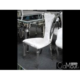 Krzesło do pokoju tkanina srebrna