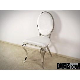 Eleganckie krzesło do salonu tkanina biała