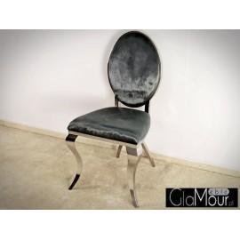 Eleganckie krzesło do salonu tkanina grafitowa