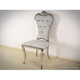 Stylowe krzesło do pokoju tkanina srebrna
