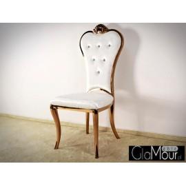 Stylowe krzesło do pokoju tkanina jasno beżowa