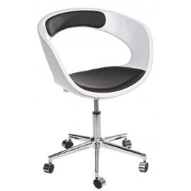 Fotel na kółkach FLOP K- biały S- czarn e