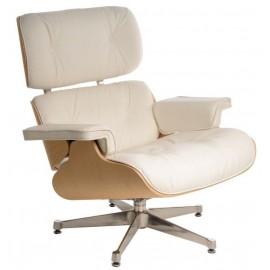 Fotel Vip biały/natural oak/srebrna baza