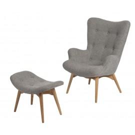 Fotel z podnóżkiem Contour szary