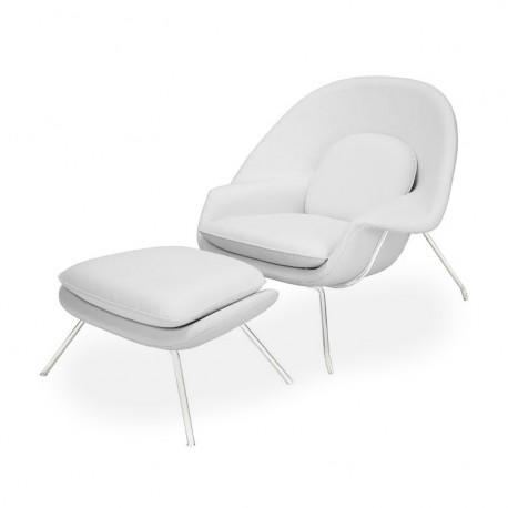Fotel z podnóżkiem Snug biały