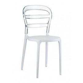 Krzesło Miss Bibi white/transparent transparentne oparcie