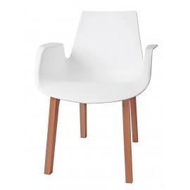 Krzesło Mokka białe drewniane nogi