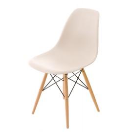 Krzesło P016W PP beige drewniane nogi