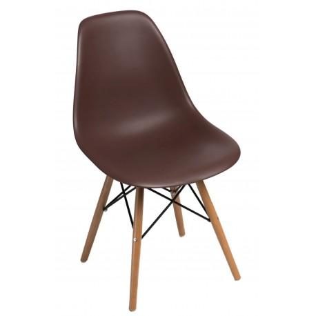 Krzesło P016W PP brązowe drewniane nogi