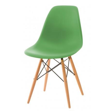 Krzesło P016W PP ciemno zielone drewnia ne nogi