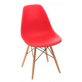 Krzesło P016W PP czerwonedrewniane nogi