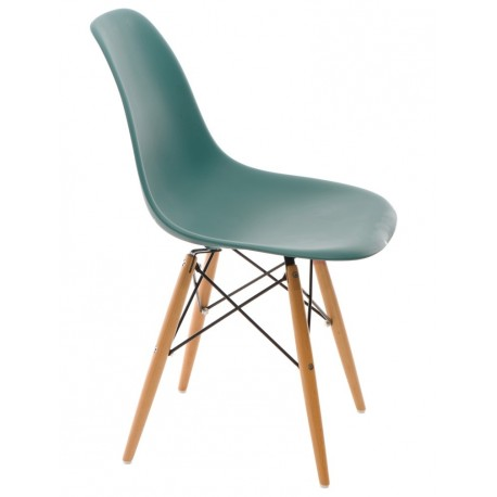 Krzesło P016W PP navy green drewniane nogi
