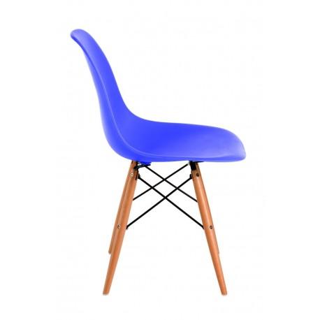 Krzesło P016W PP niebieskie drewniane nogi