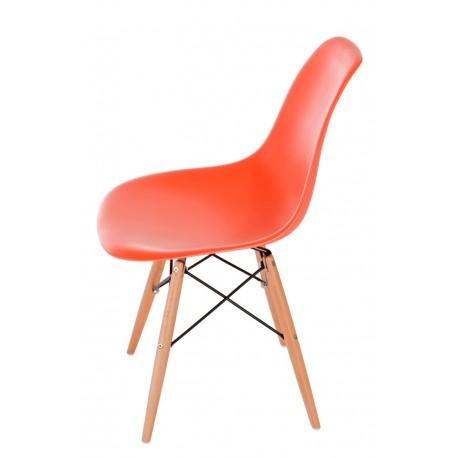 Krzesło P016W PP pomaranczowe drewniane nogi
