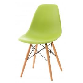 Krzesło P016W PP zielone drewniane nogi