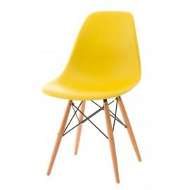 Krzesło P016W PP żółte drewniane nogi