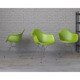 Krzesło P018 PP zielone chromowane nogi