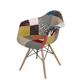 Krzesło P018W patch work drewniane nogi