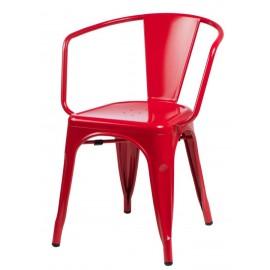 Krzesło Paris Arms czerwone inspirowane Tolix