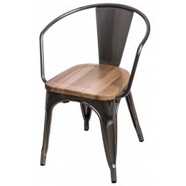 Krzesło Paris Arms Wood metal sosna natu ralna