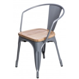 Krzesło Paris Arms Wood szare sosna natu ralna
