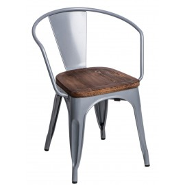 Krzesło Paris Arms Wood szare sosna orze ch