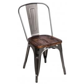Krzesło Paris Wood metali. sosna orzech