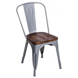 Krzesło Paris Wood szare sosna orzech