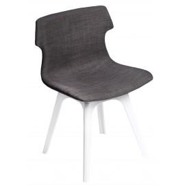 Krzesło Techno tapicerowane brązowe podstawa biała