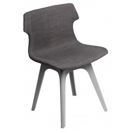 Krzesło Techno tapicerowane brązowe podstawa szara