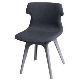 Krzesło Techno tapicerowane grafitowe podstawa szare