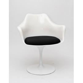Krzesło TulAr białe/czarna poduszka