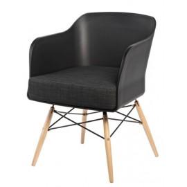 Krzesło Viva czarny z grafitową poduszką
