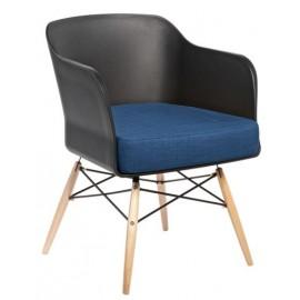 Krzesło Viva czarny z granatową poduszką