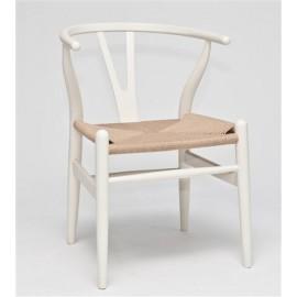 Krzesło Wicker Naturalne białe inspirowa ny Wishbone