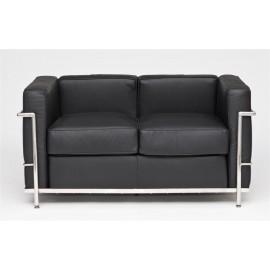 Sofa 2-osobowa Kubik czarna skóra TP