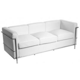 Sofa trzyosobowa Kubik biała skóra TP