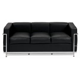 Sofa trzyosobowa Kubik czarna skóra TP