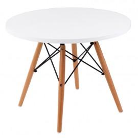 Stolik DTW średnica blatu 60 cm biały drewniane nogi