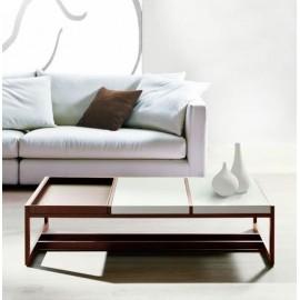 Stolik Tray Big brązowy biały