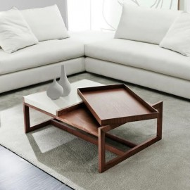 Stolik Tray Small brązowy biały