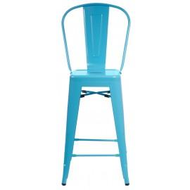 Stołek barowy Paris Back niebieski inspirowany Tolix