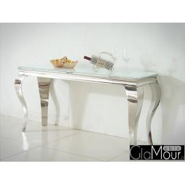 Nowoczesna konsola blat z białego szkła Glamour F306