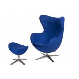 Fotel Jajo szeroki z podn. wełna YQ-05 niebieski