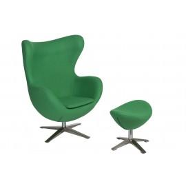 Fotel Jajo szeroki z podn. wełna  YQ-23 zielony
