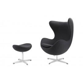 Fotel Jajo z podnóżkiem kaszmir 41 szary ciemny Premium