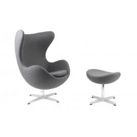 Fotel Jajo z podnóżkiem kaszmir 42 szary jasny Premium