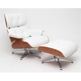 Fotel Vip z podnóżkiem biały/rosewood/srebrna baza