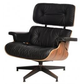 Fotel Vip z podnóżkiem czarny/rosewood/standard base